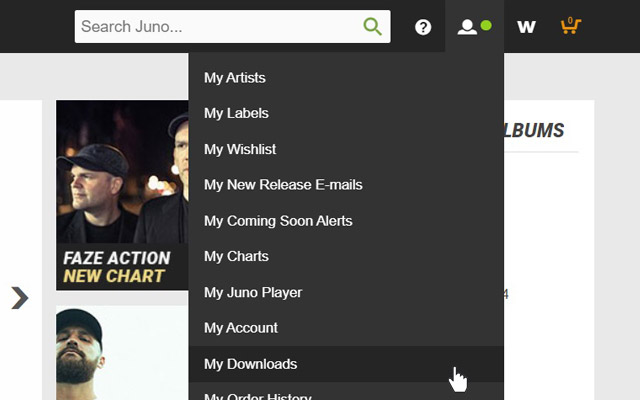 """Hover over """"My Juno"""" on the navigation bar then click on """"My Downloads""""."""