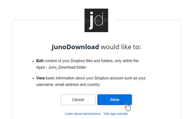 Allow Juno Download to link to your Dropbox account.