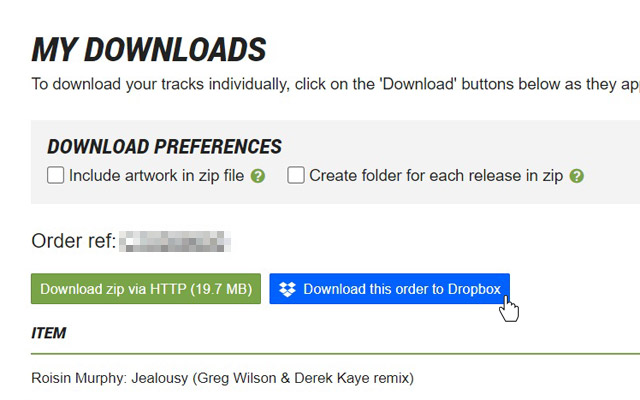 You are set to Download your order(s) to your Dropbox